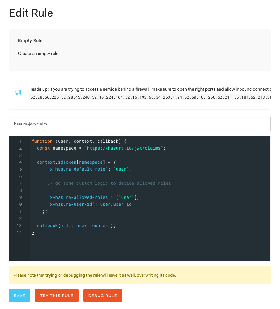 Adding Hasura custom JWT claims using an Auth0 Rule in Dashboard