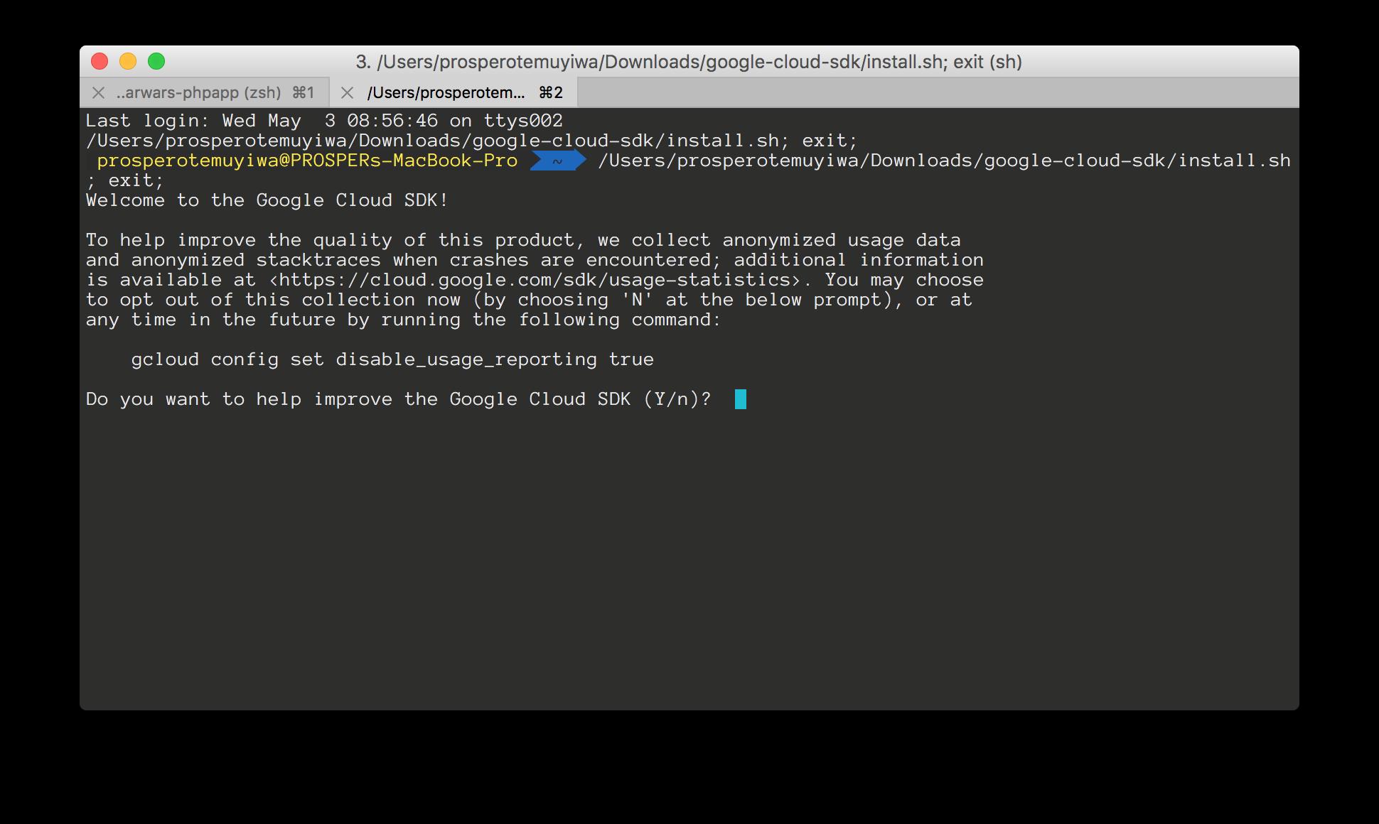 Installing Google SDK