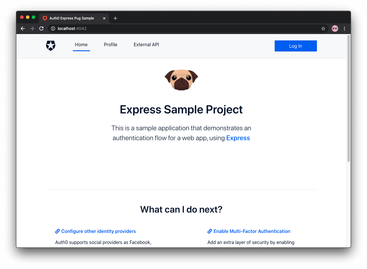 Auth0 Express sample app