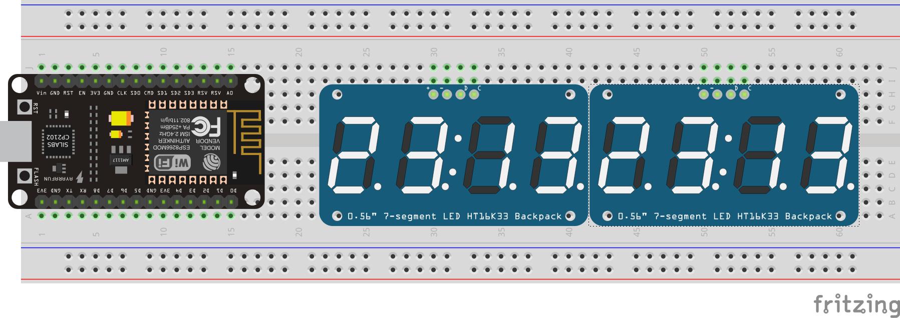 NodeMCU and 7-segment display diagram