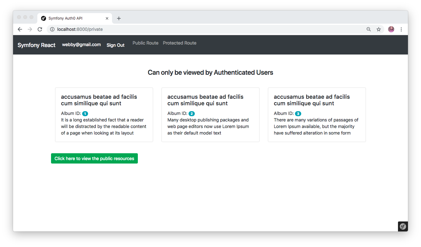 Showing scured route developed with Symfony and React