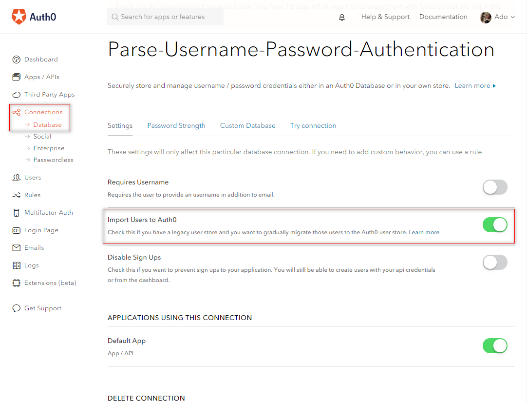 Setup User Migration from Parse