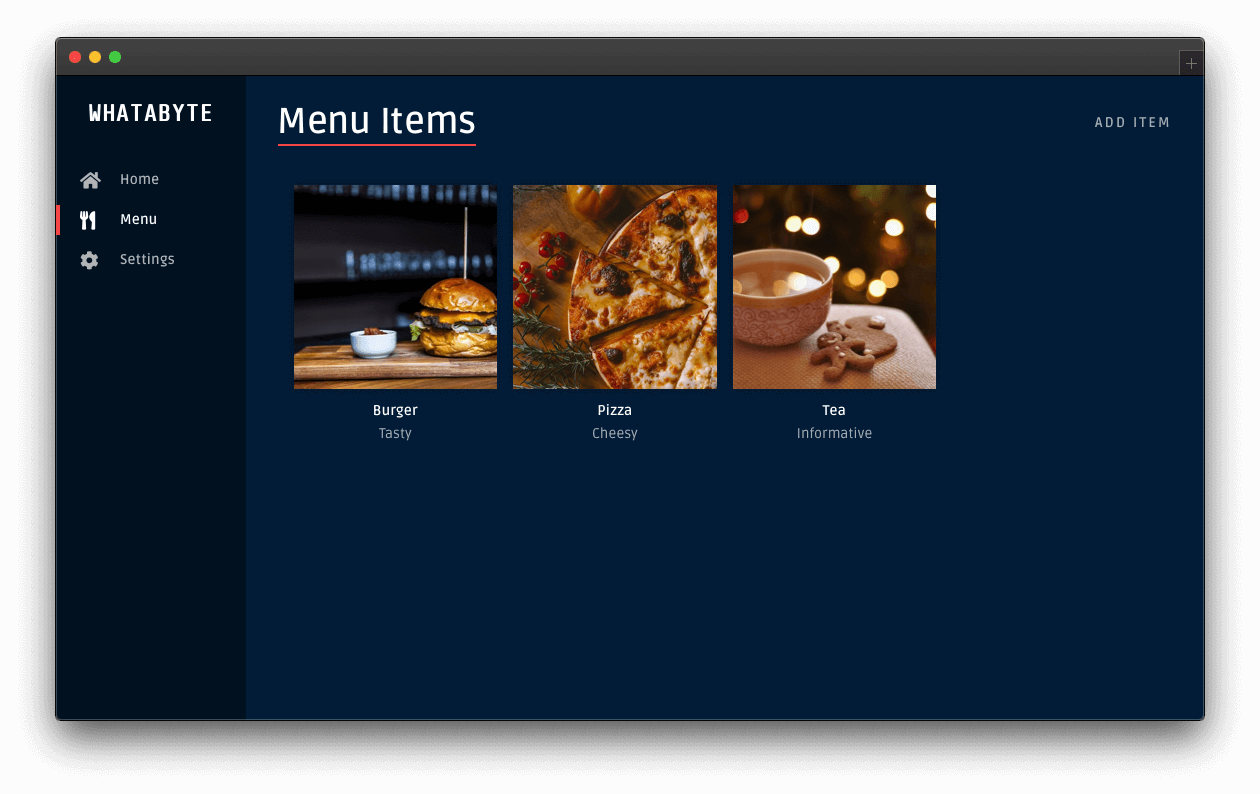 Dashboard menu page