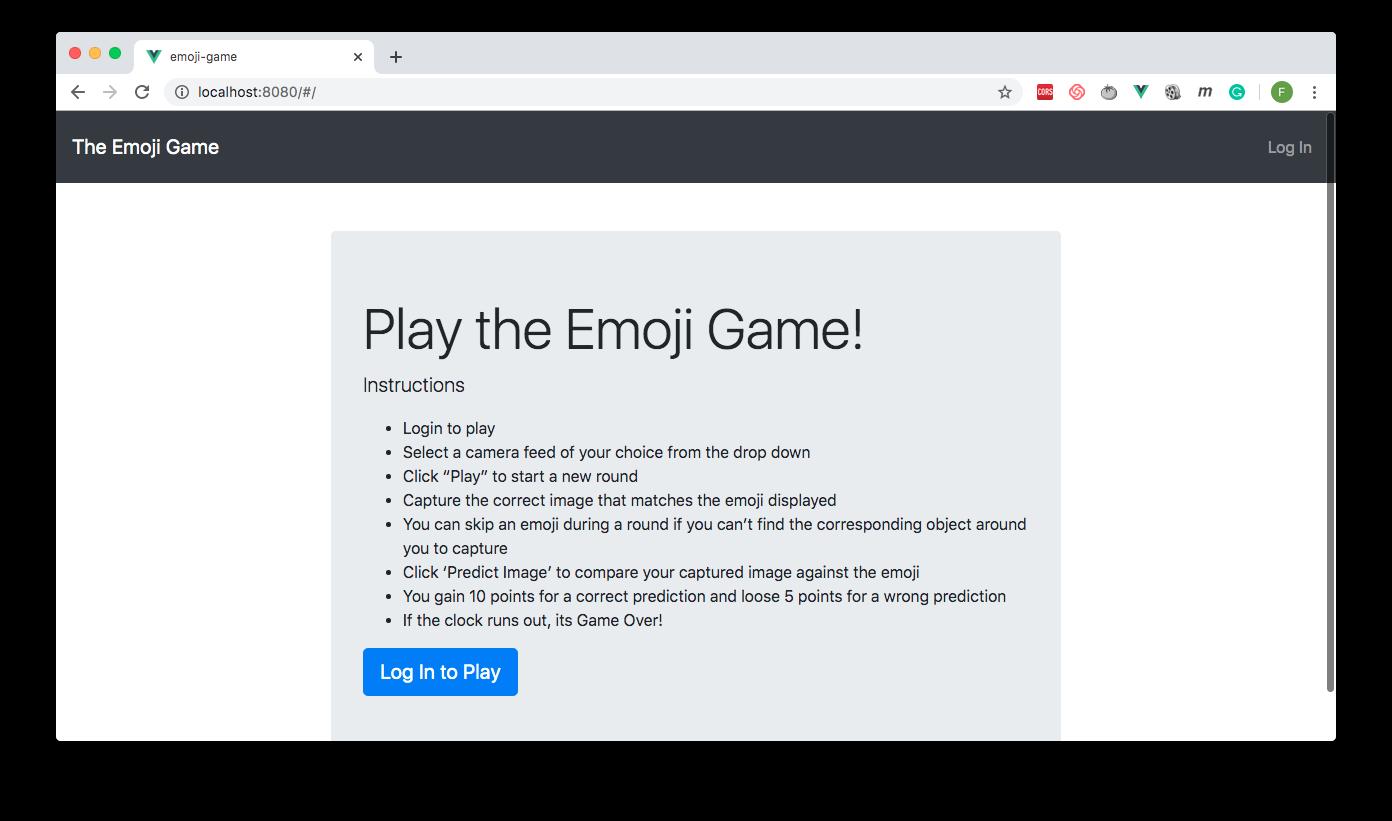 Login Page for Emoji Game