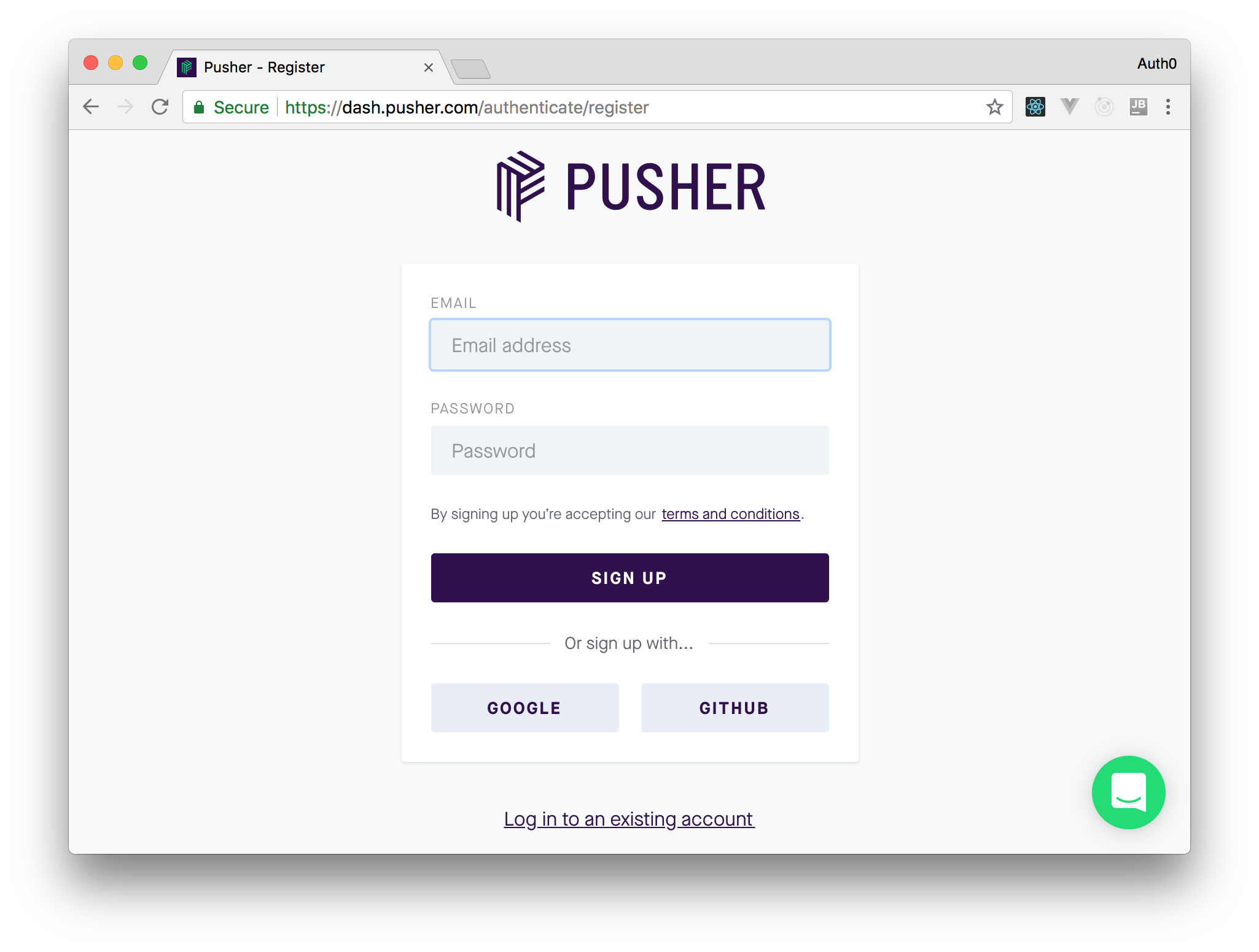Signing up for a Pusher/TextSync account.