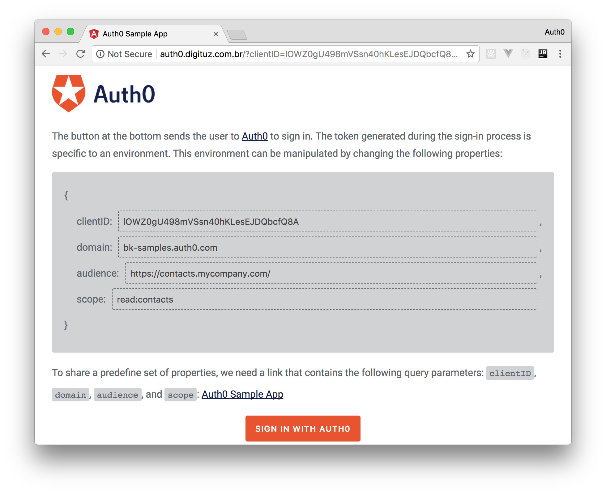 Using the Angular app with the configurable Auth0 Client