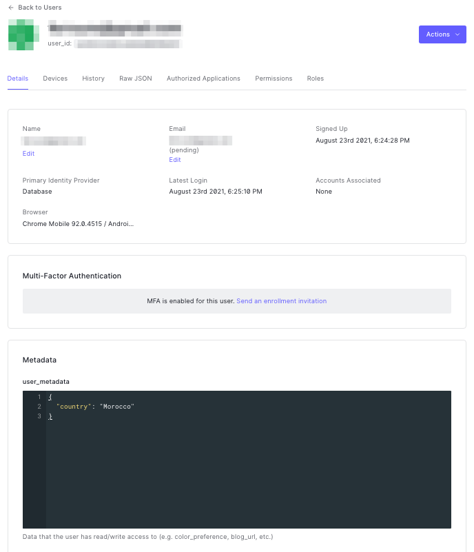 """The Auth0 dashboard displaying the user's """"User Details"""" page. In the """"user_metadata"""" field, a JSON object contains a single key-value pair with the key """"country"""" and the value """"Morocco""""."""