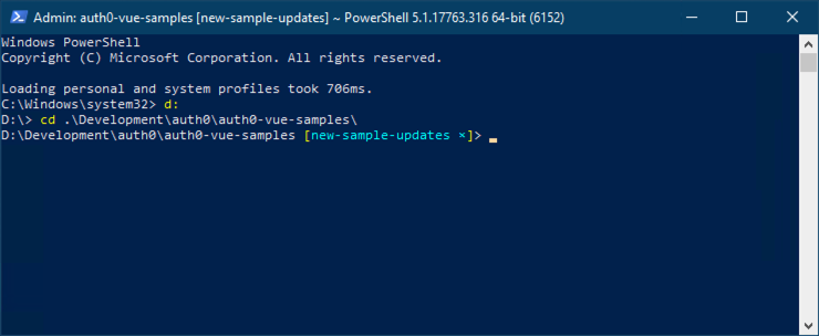 Screenshot of posh-git with Powershell on Windows