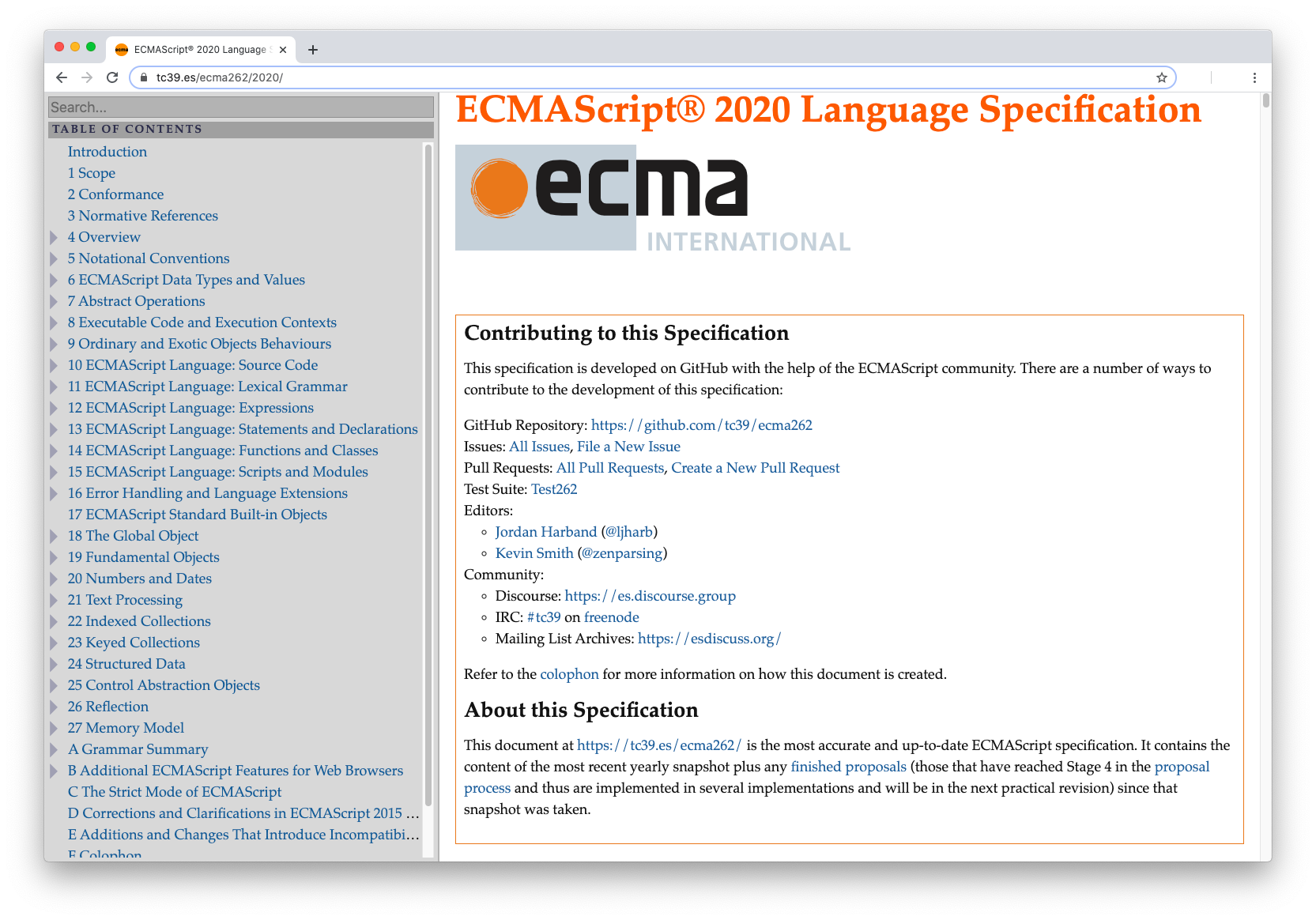ES2020 Language Specification