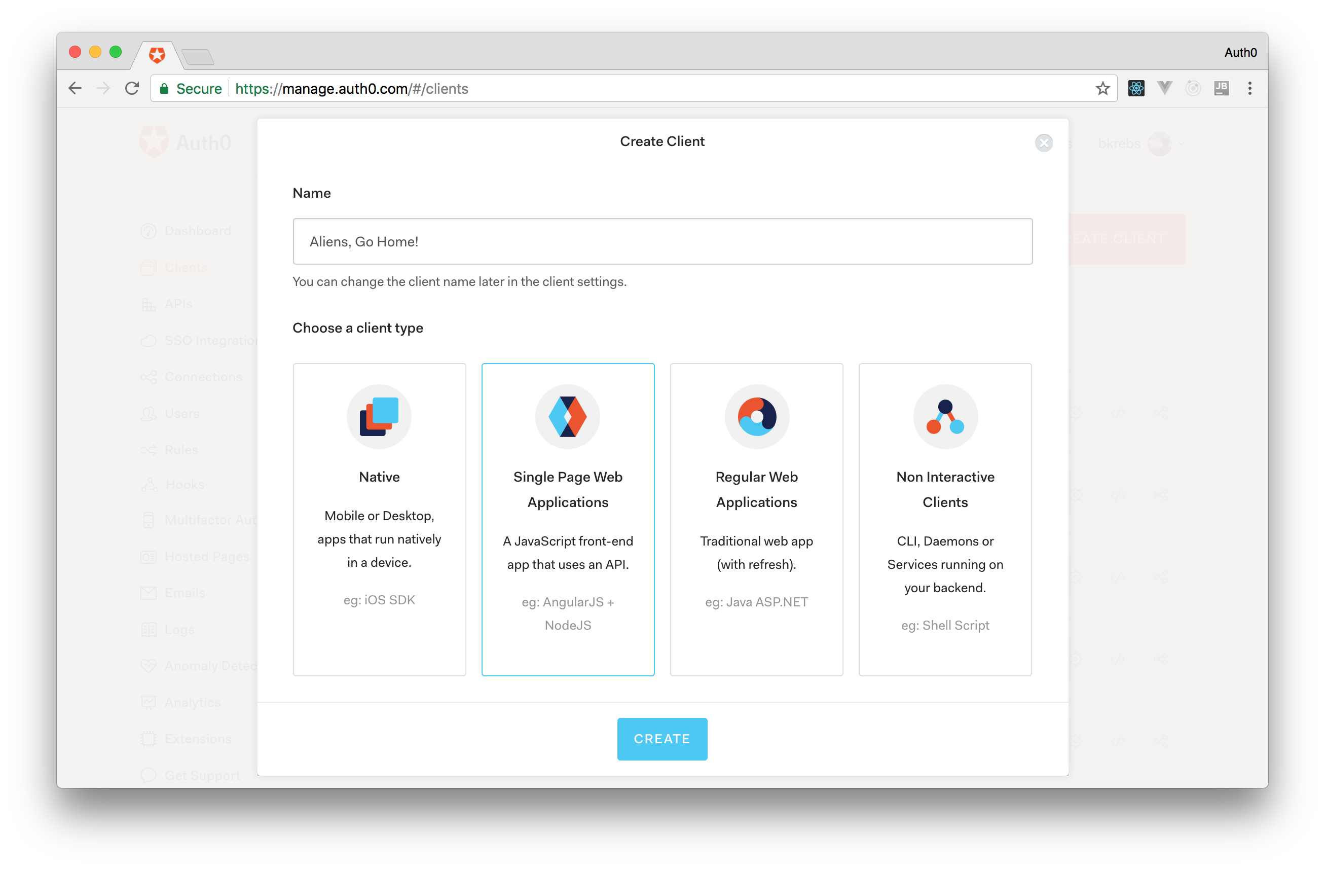Creating the Auth0 Application to represent your React game.