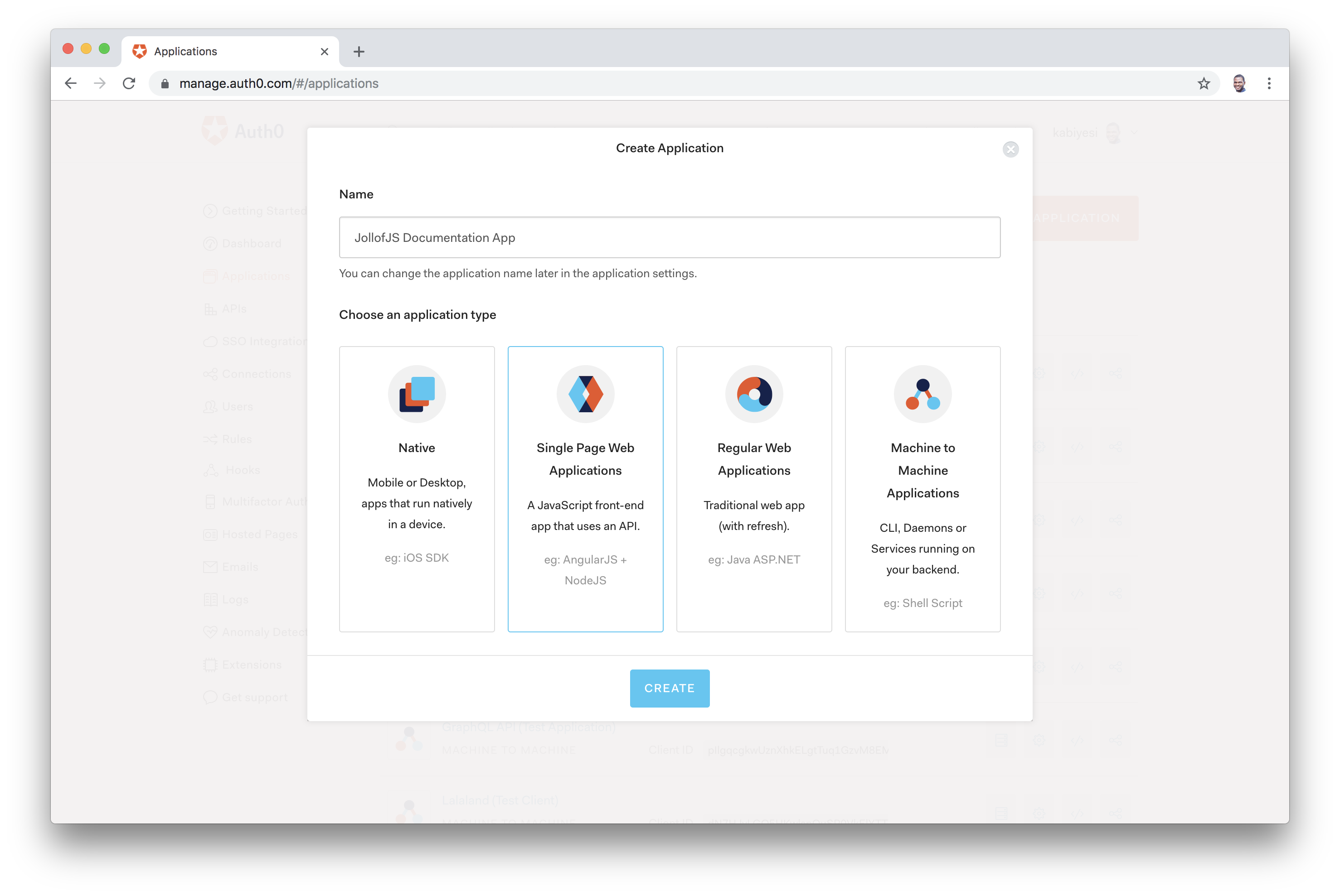 Select Application within Auth0 Dashboard