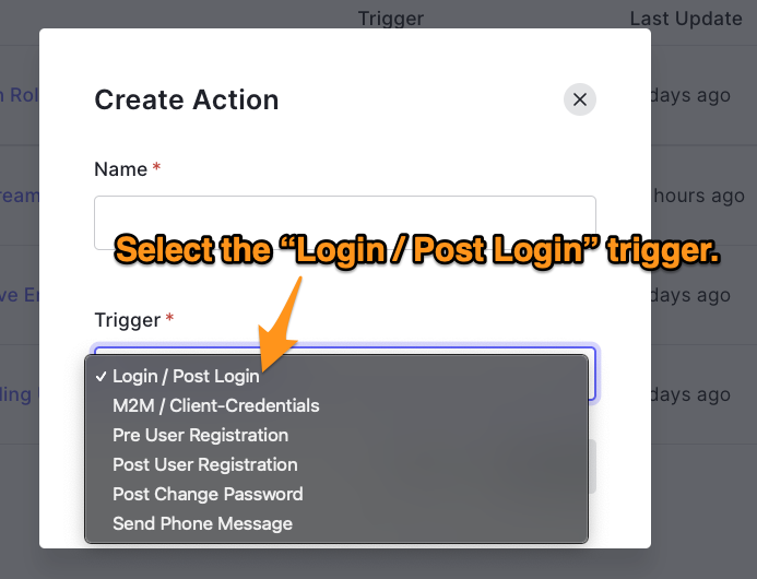 Create action trigger