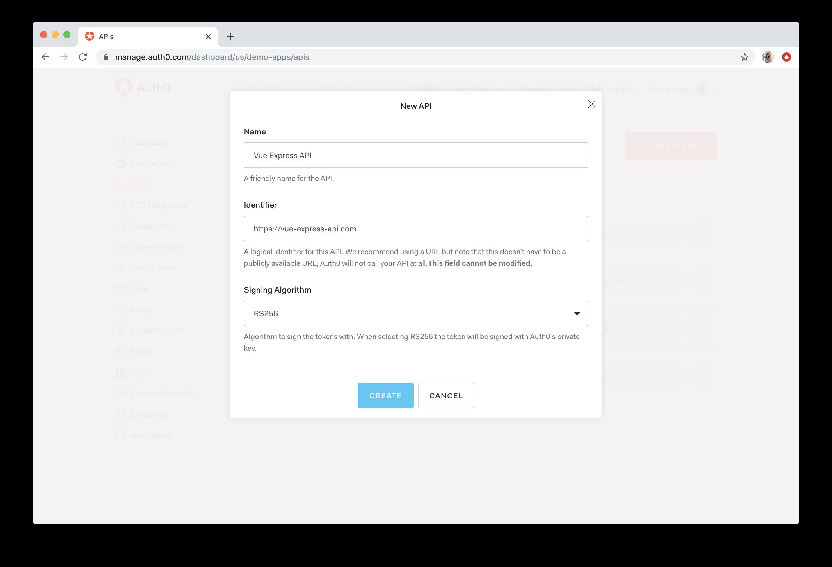 Auth0 dashboard API creation