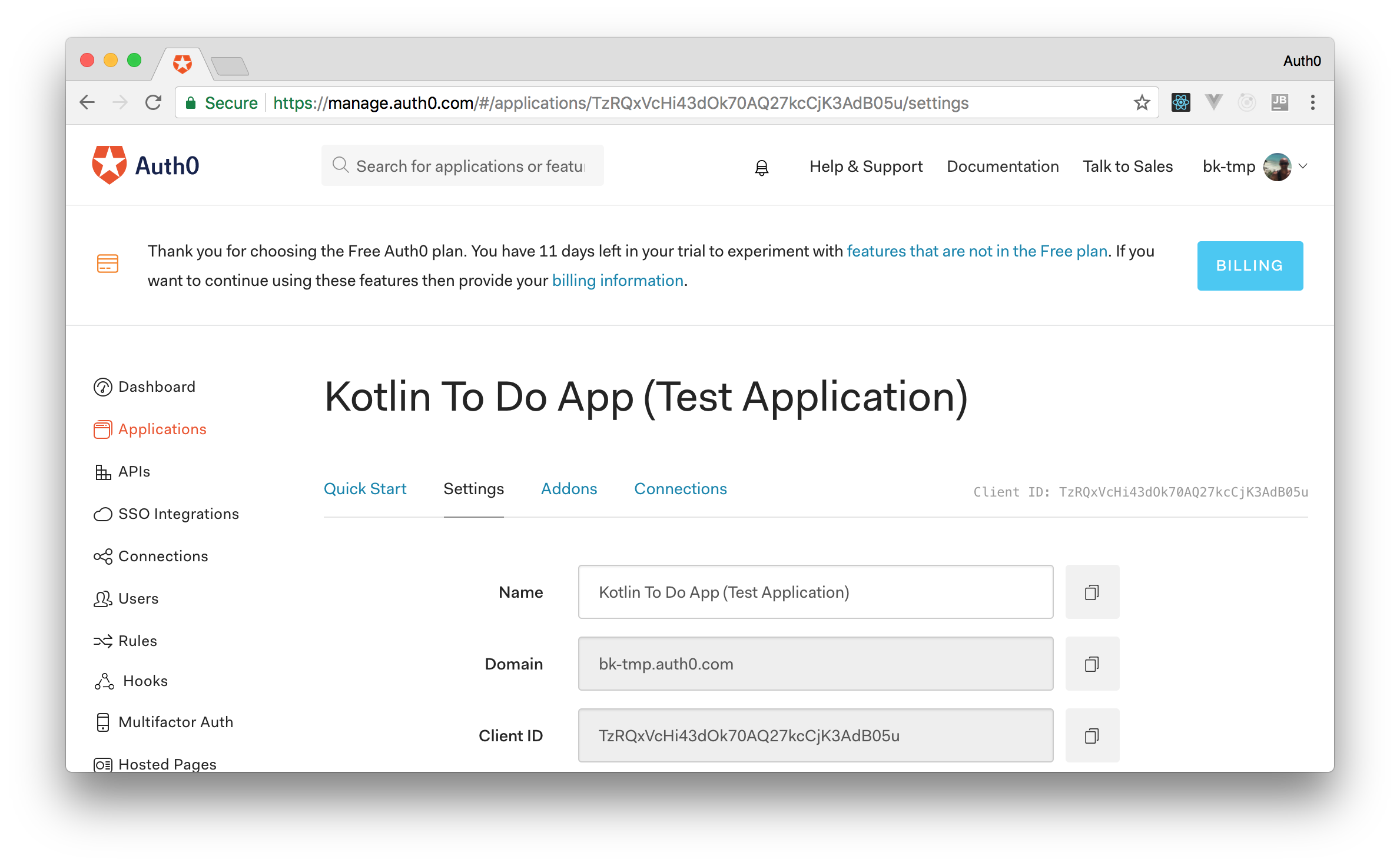 Test application created by Auth0