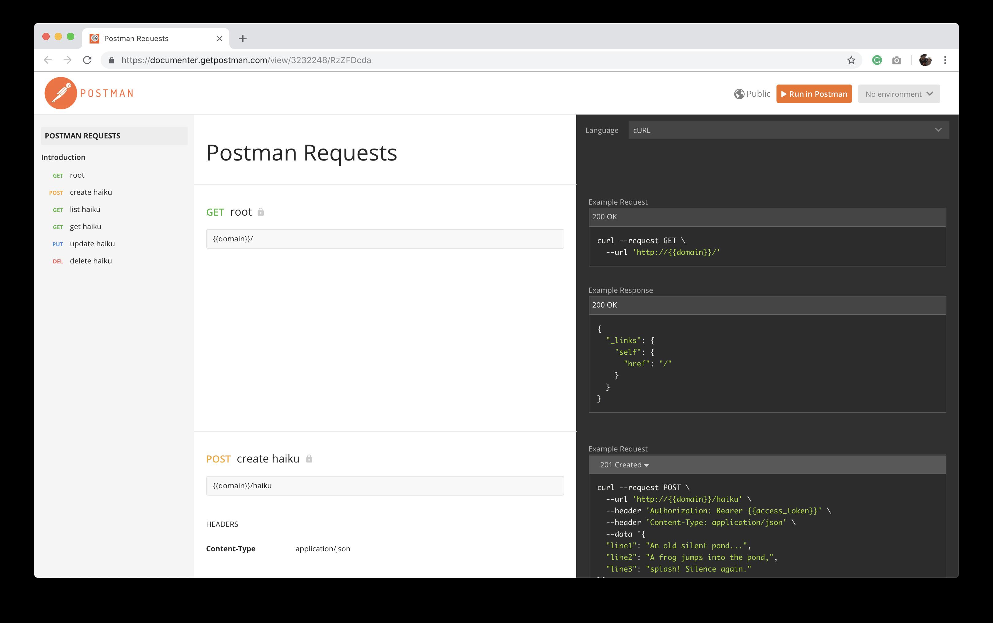 Express API docs for Postman