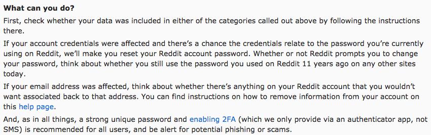 Reddit data breach mitigation steps notice