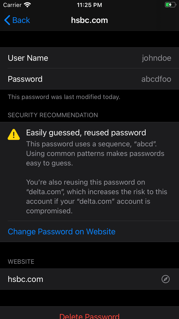 Apple Keychain easily guessed reused password