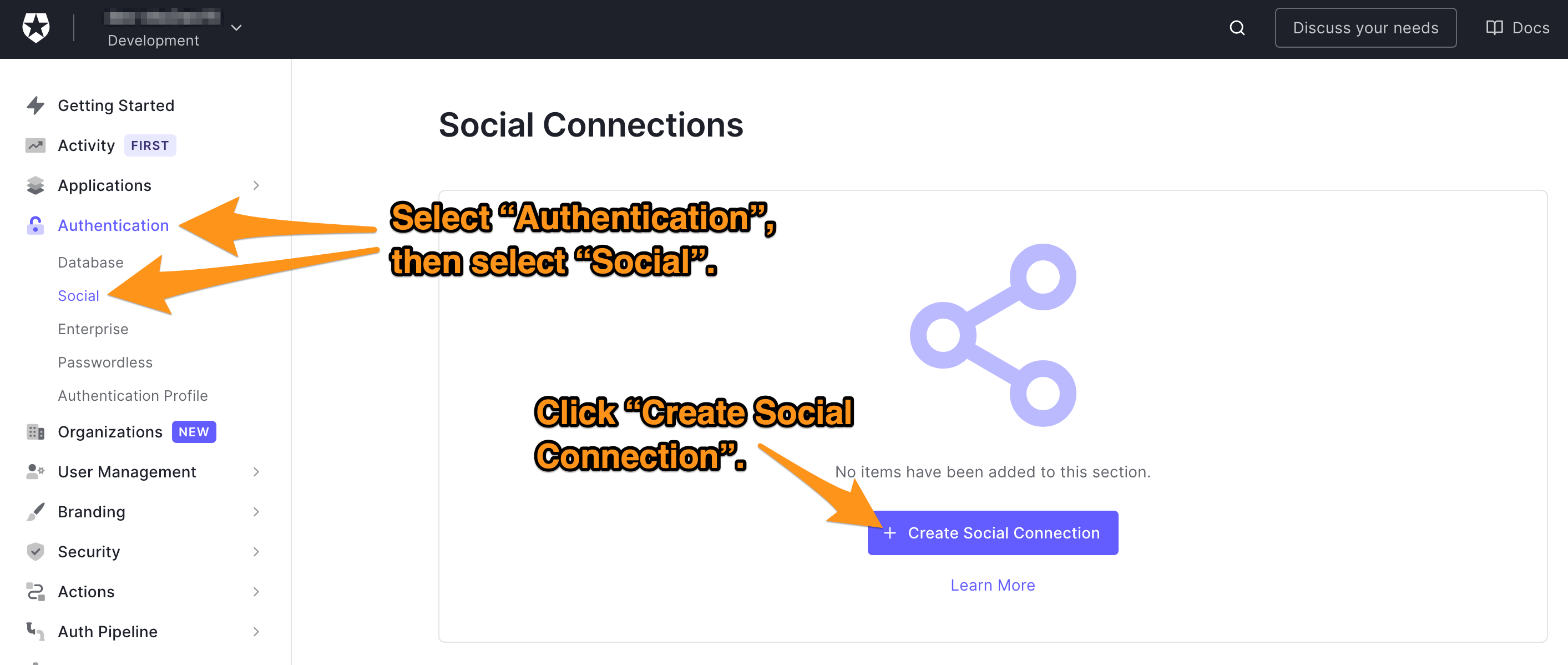 The steps to create a new social connection in Auth0