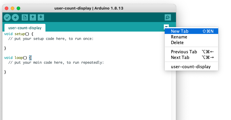 Create a new tab in Arduino IDE