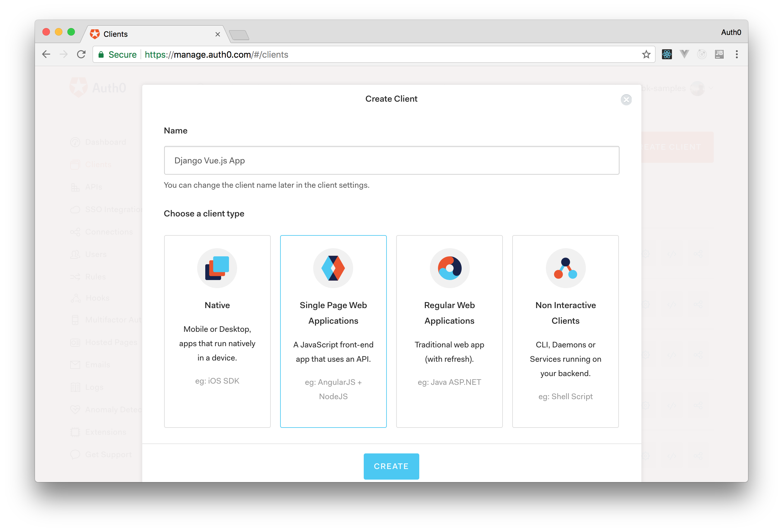Creating an Auth0 Client