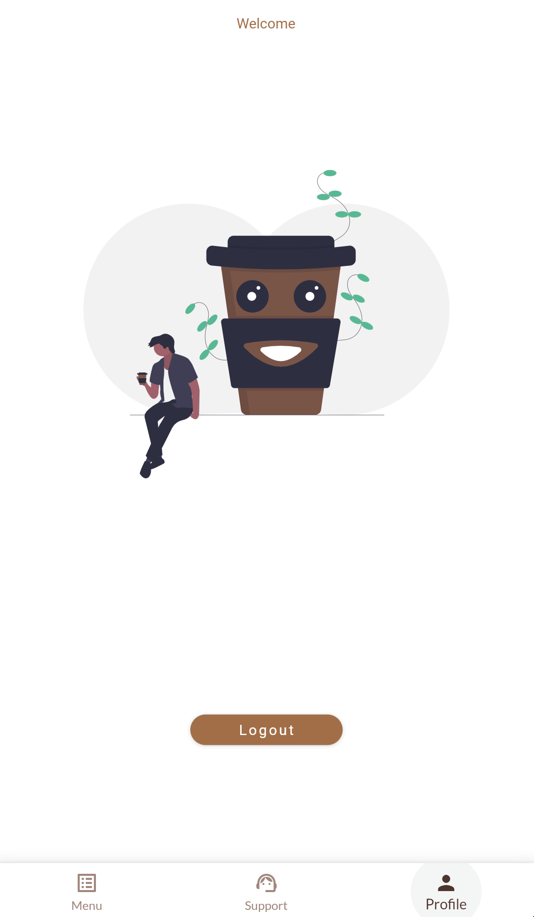 """The MJ Coffee App's """"Profile"""" screen, which currently shows a coffee illustration"""