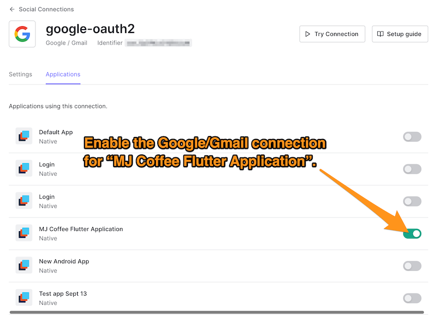 The Google/OAuth2 applications tab