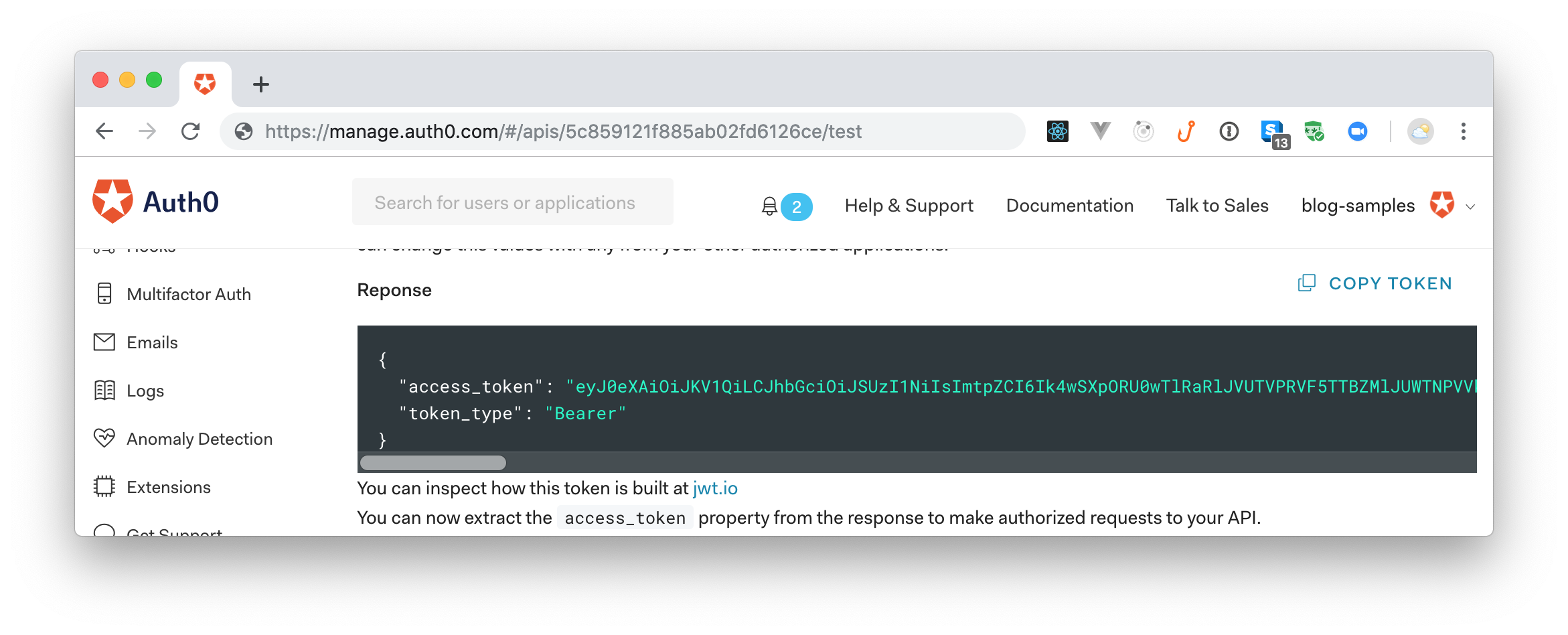 Copying the test access token to consume your Laravel and GraphQL API.