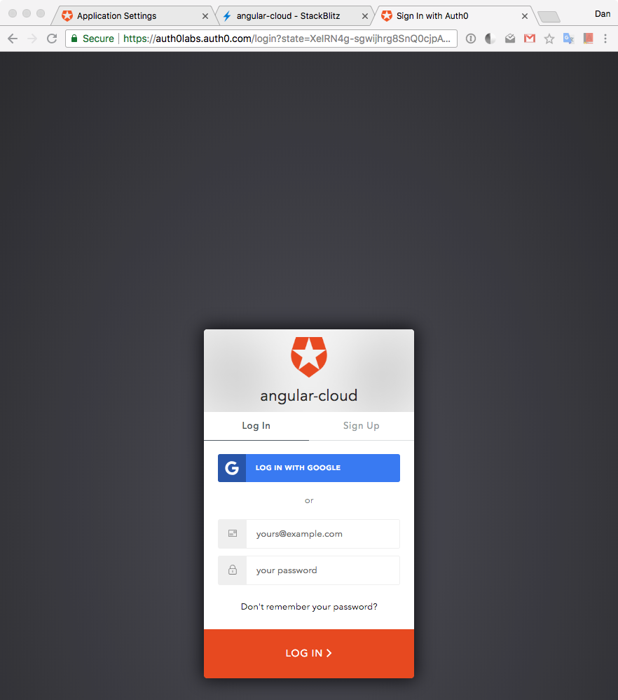 Auth0 Universal Login page
