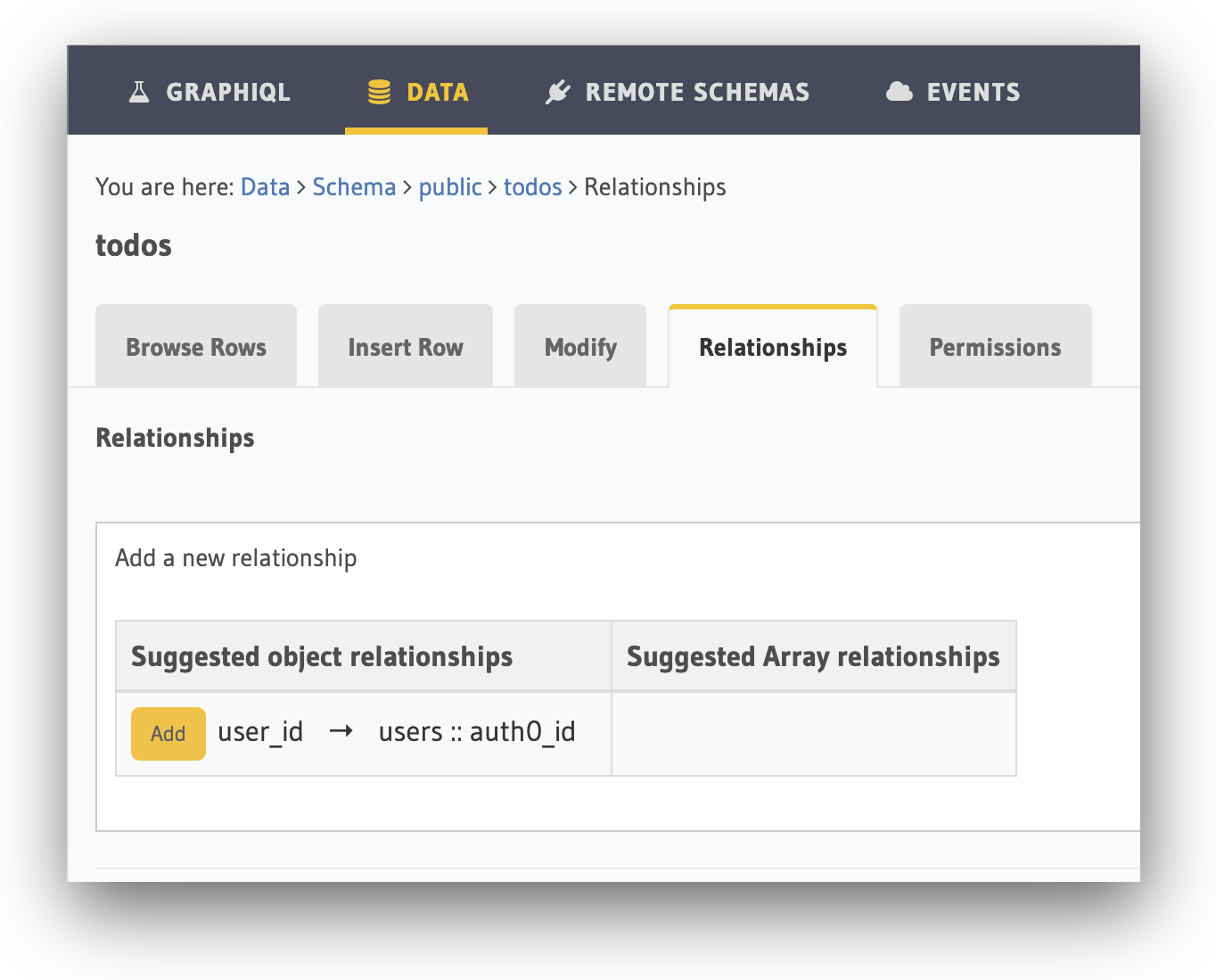 Adding a user to object relationship within Hasura