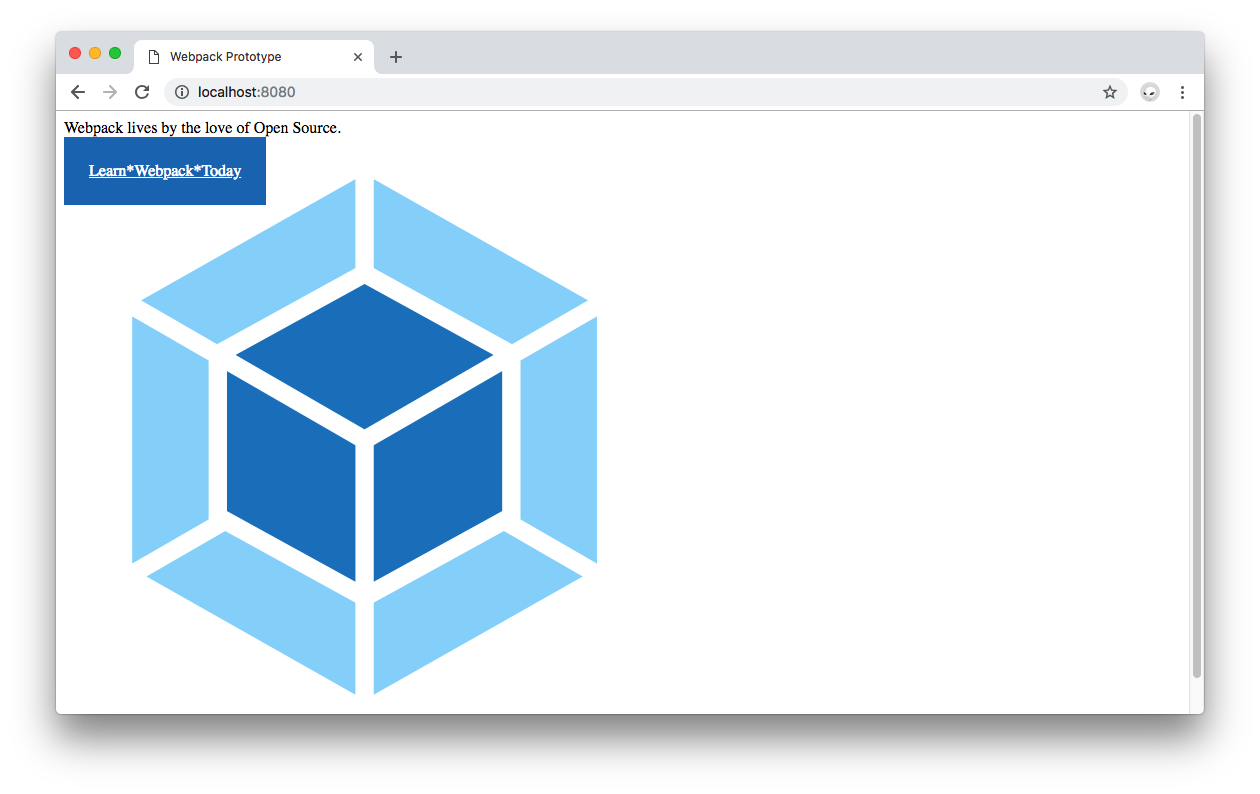 Webpack output in the browser with image assets loaded.