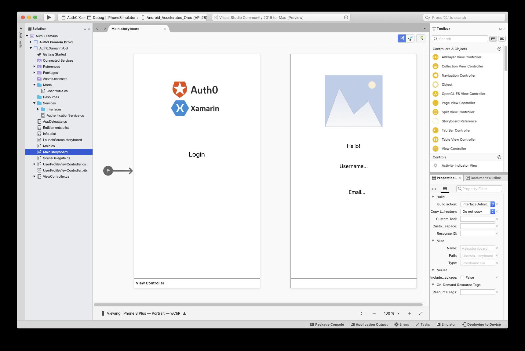 Xamarin.iOS Main.storyboard in Visual Studio