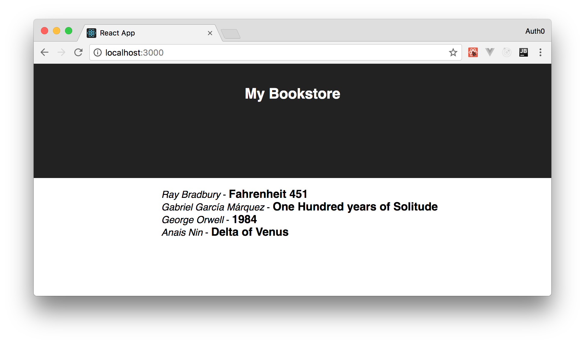 Showing the book list in the React app integrated with ASP.NET Core 2.0