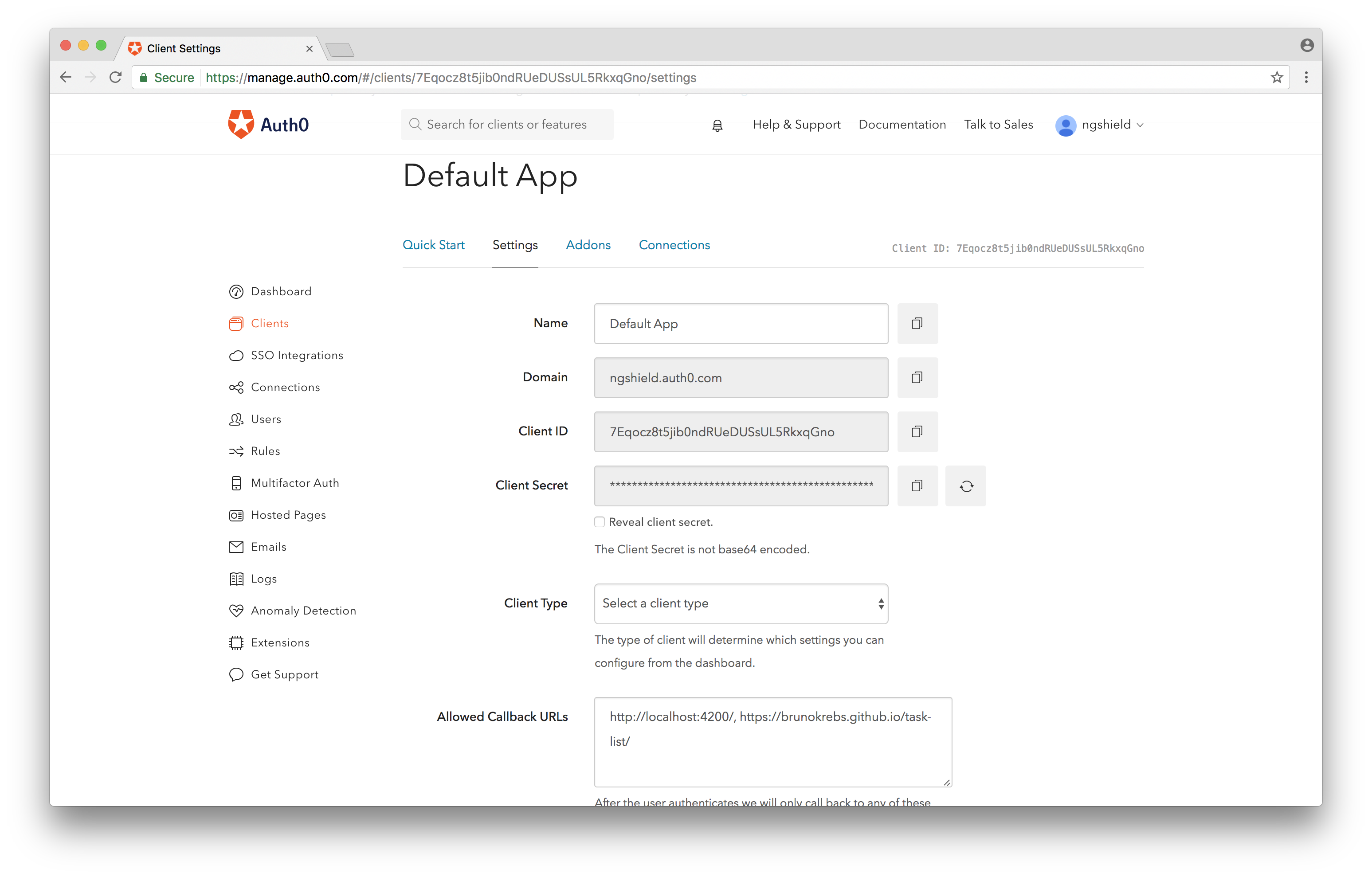 Auth0 client settings.