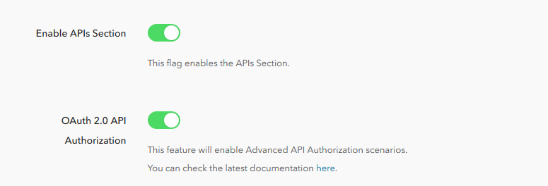 Enable API Section