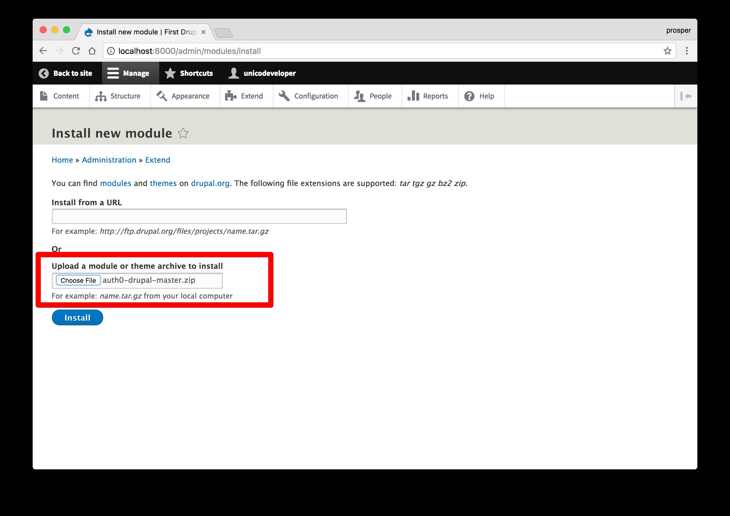 Install auth0 drupal plugin