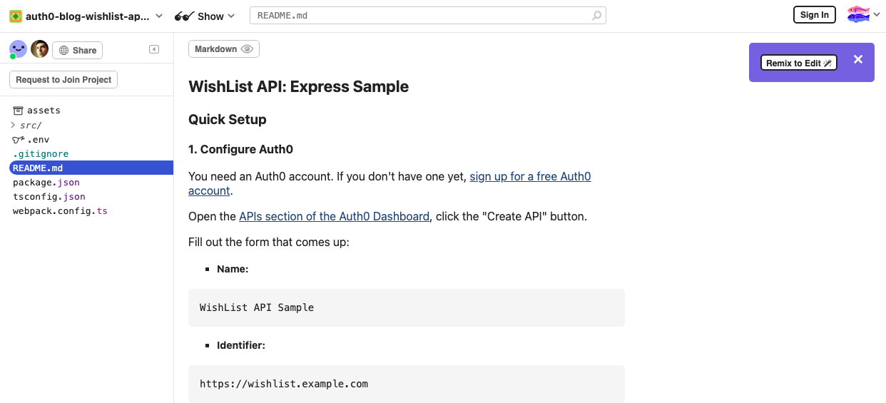"""Web page for the Glitch project to be copied. The web page's heading reads """"WishList API: Express Sample""""."""