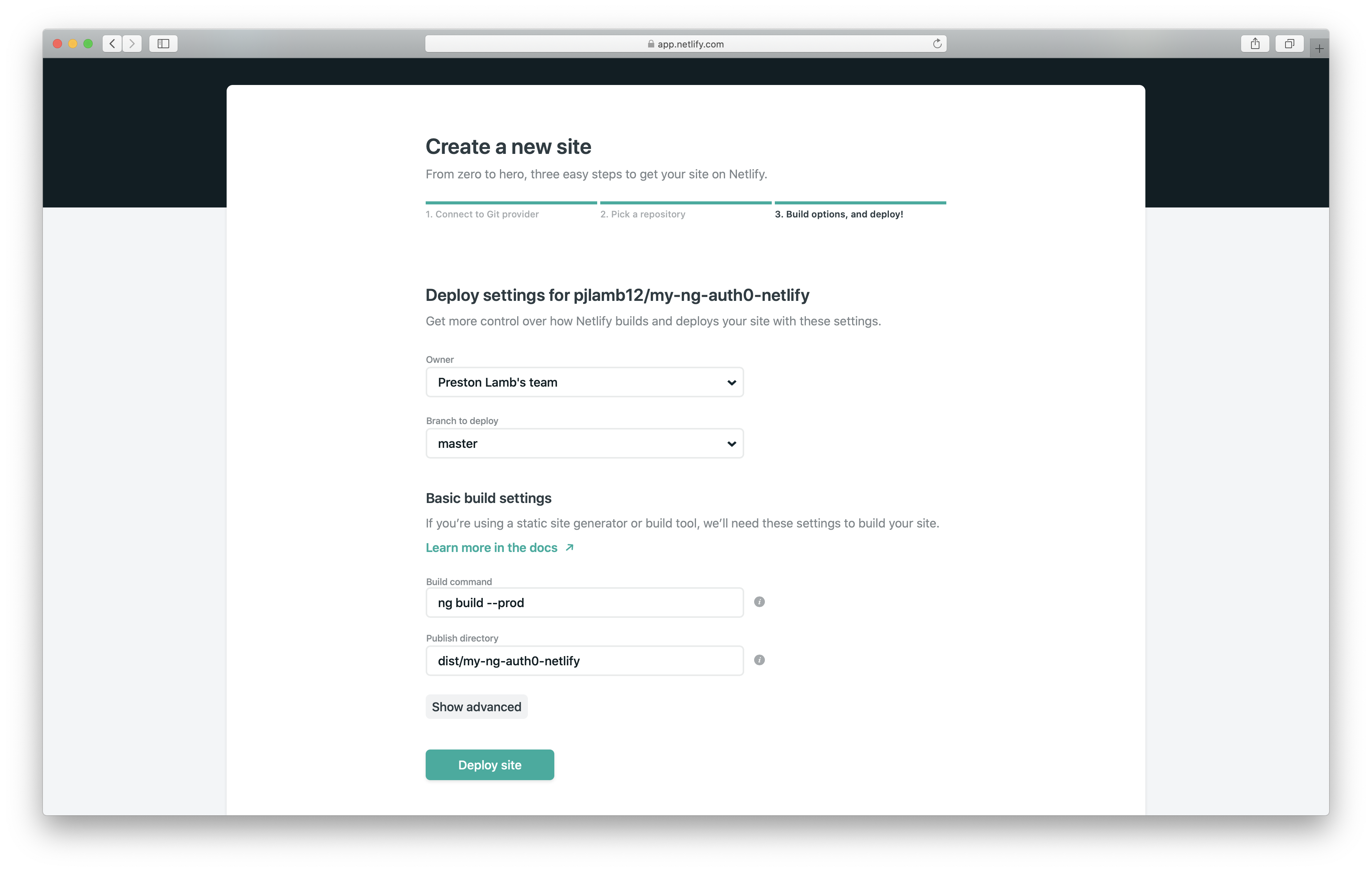 Choose the GitHub repository for Netlify
