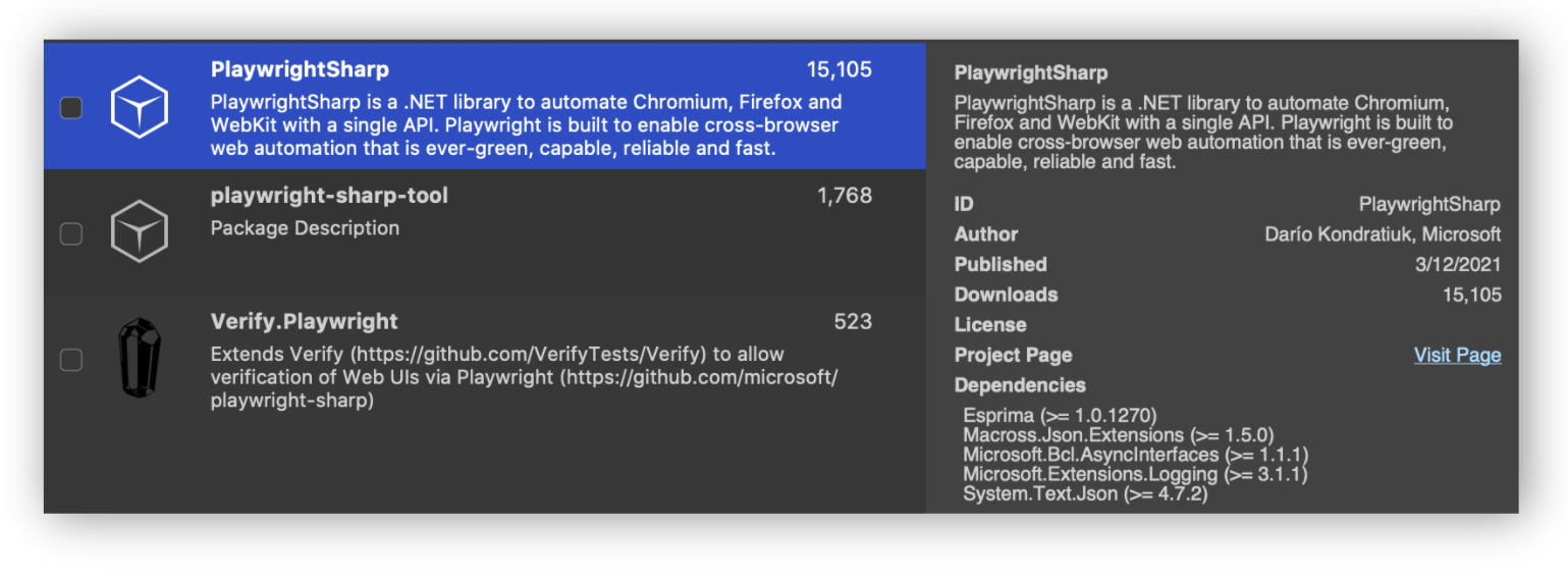 Playwright Sharp Nuget Package in Visual Studio for Mac