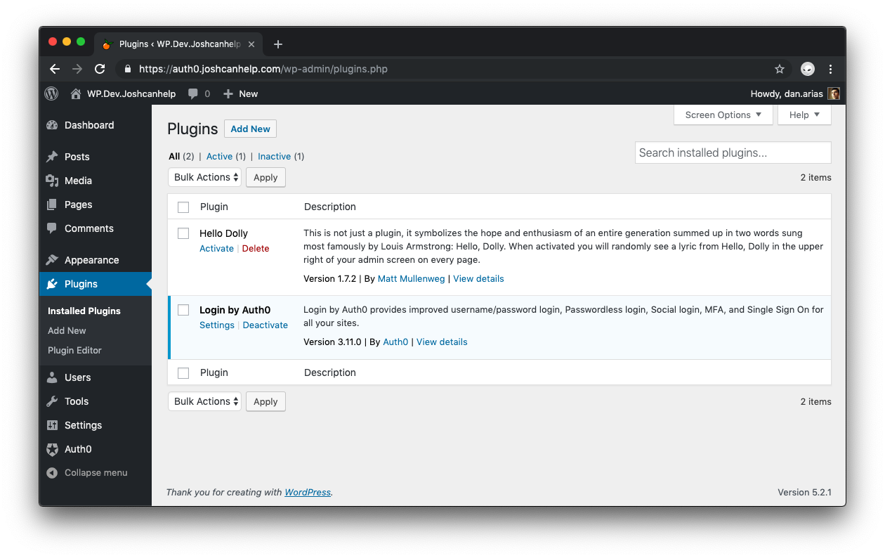 WordPress site dashboard with plugins selected