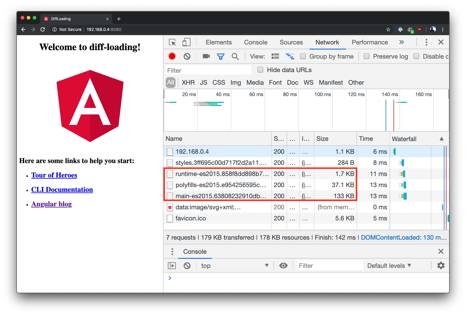 Angular differential loading success in Chrome in dev tools