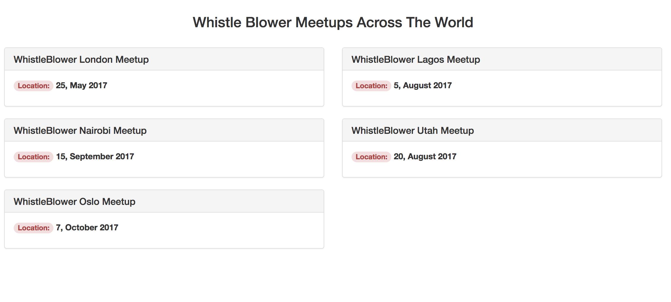 Meetups route