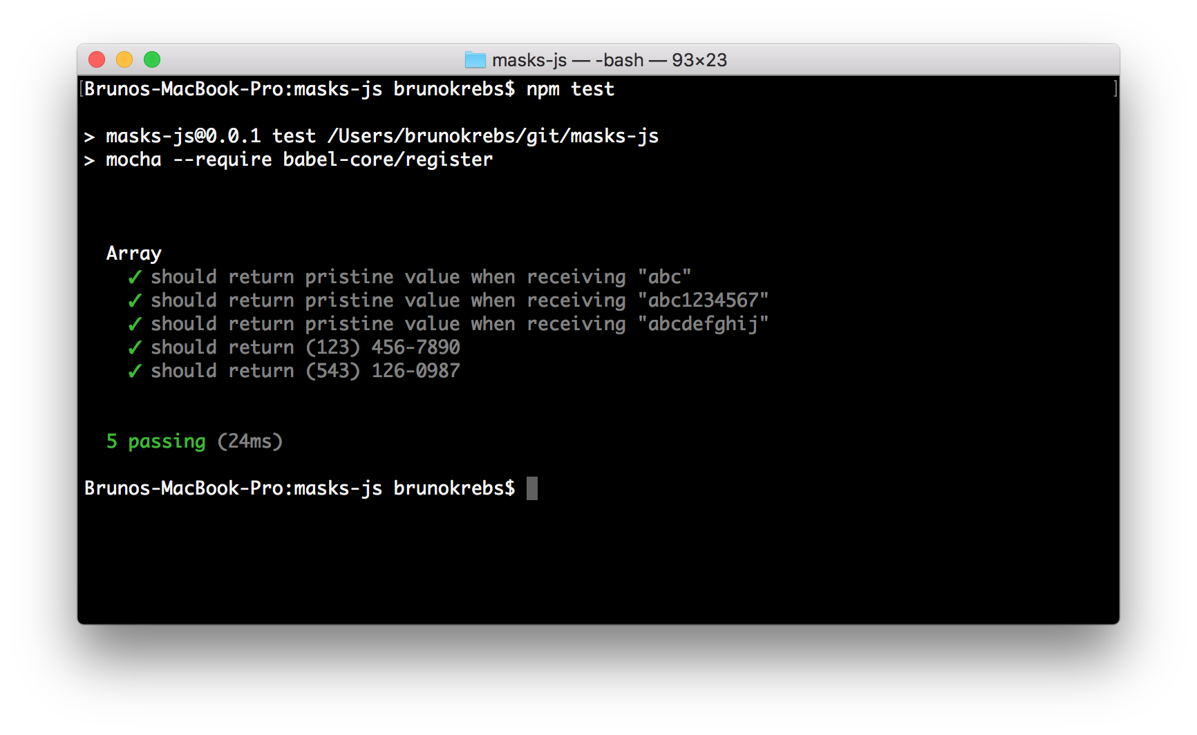 NPM Package Development: Green flags after running NPM test with Mocha.
