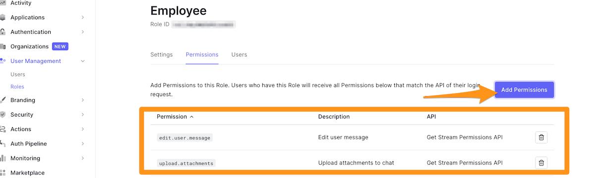 Defining custom permissions
