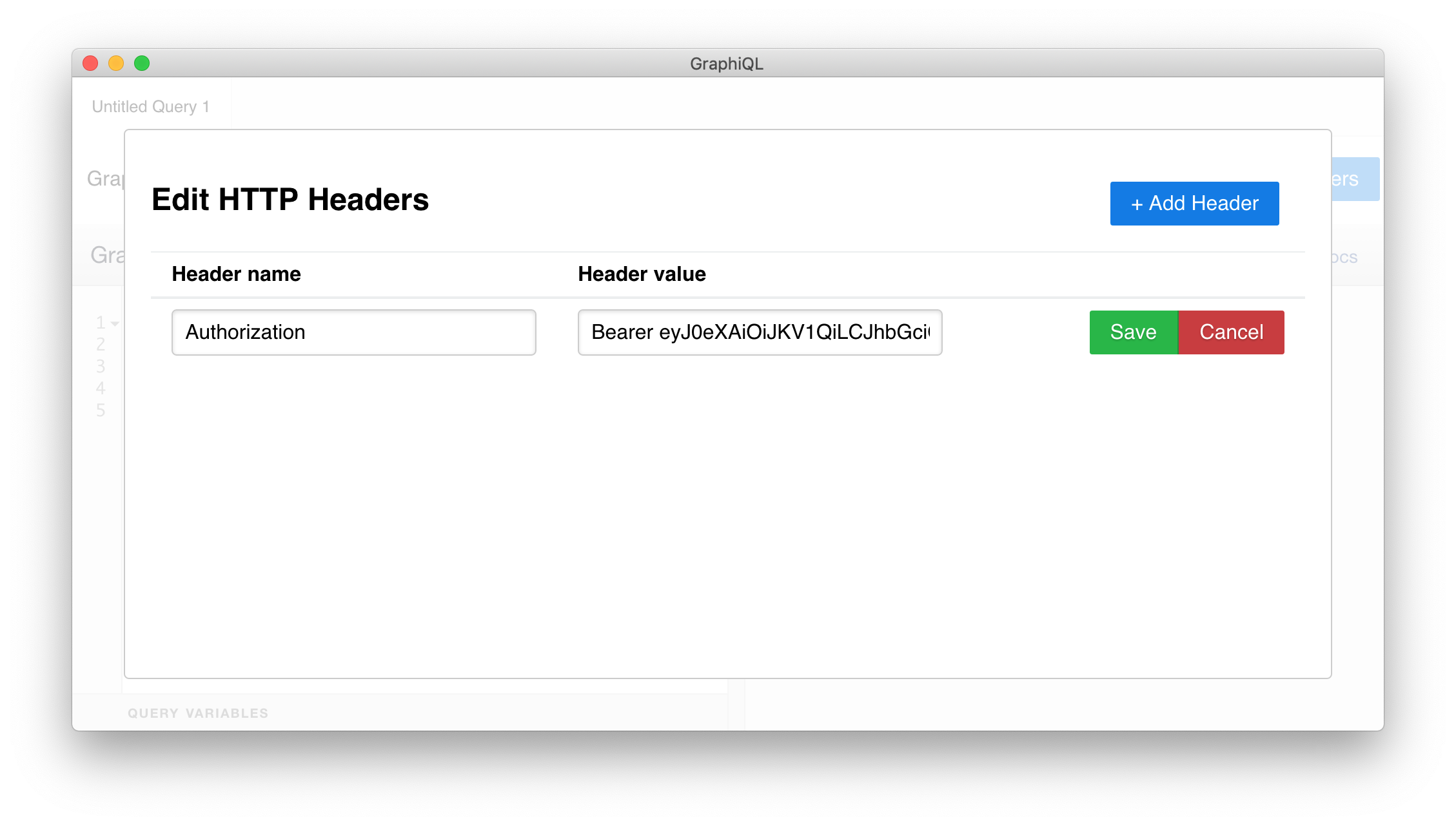 Adding the Authorization header with an access token to the GraphiQL tool.