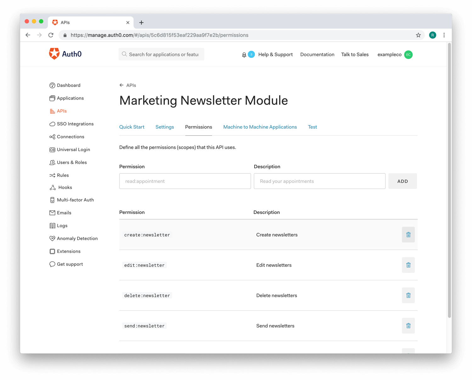 Image of the Permissions view of the API section from the Auth0 Dashboard