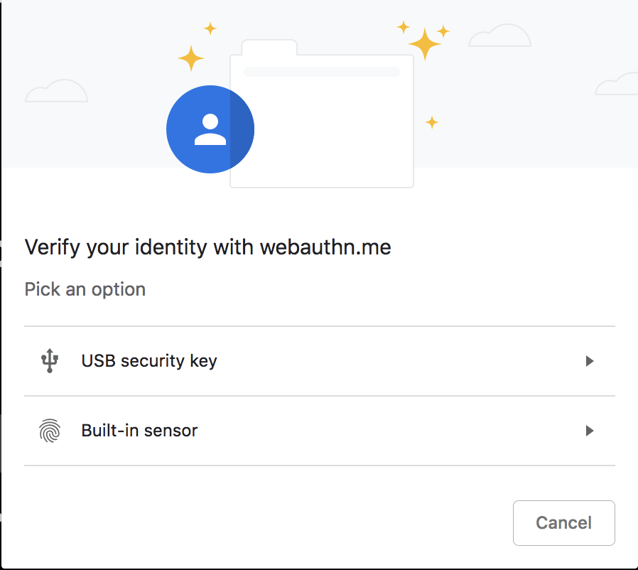 WebAuthn Credentials and Login Demo - Step 2 Authentication method selection on WebAuthn.me