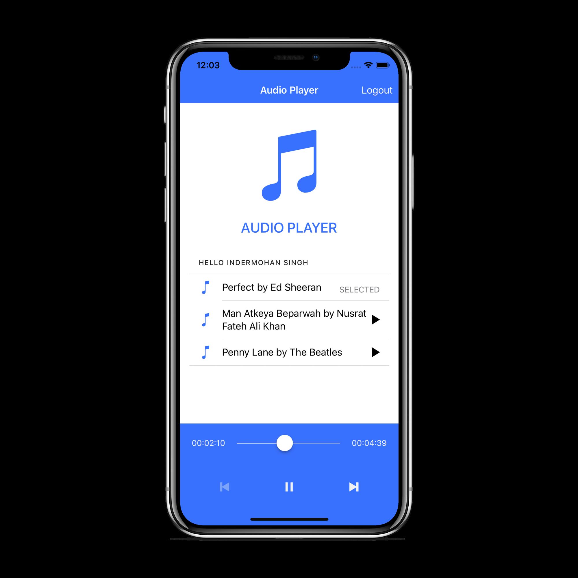 Ionic audio player demo app UI