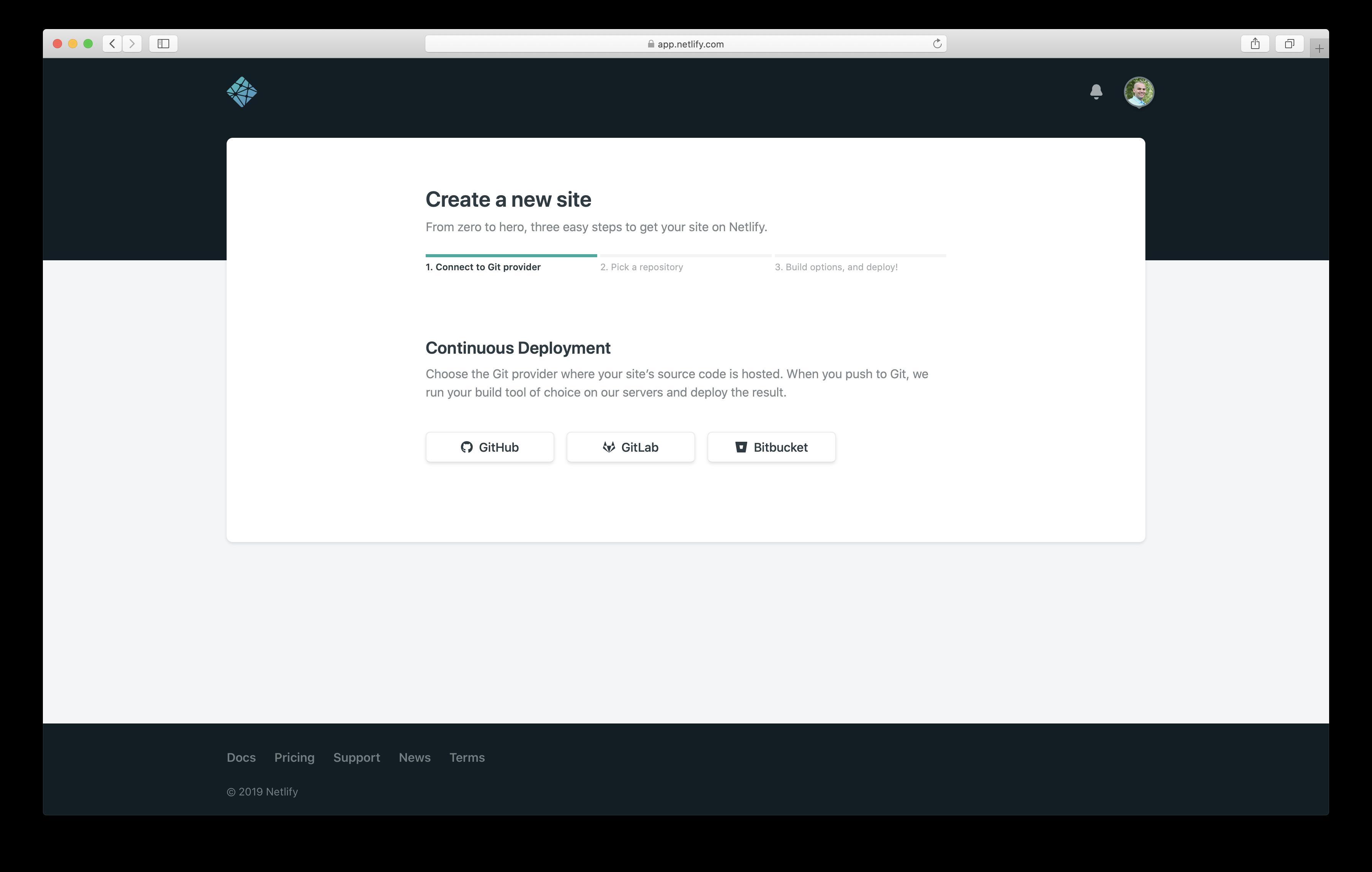 Create a new Netlify website
