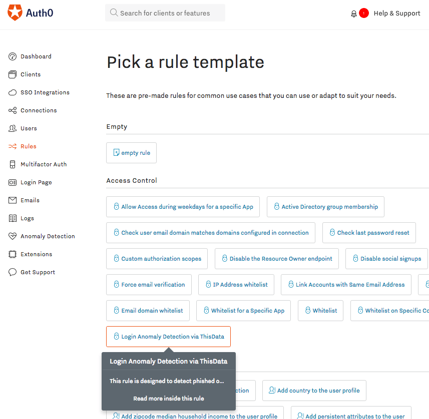 Adding a Login Anomaly Detection Rule in the Auth0 Access Control section