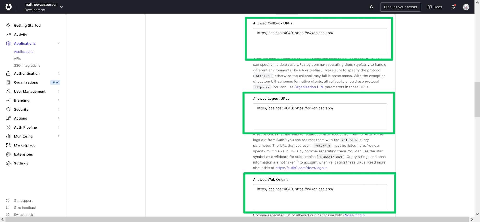 CodeSandBox URLs added to the Auth0 application